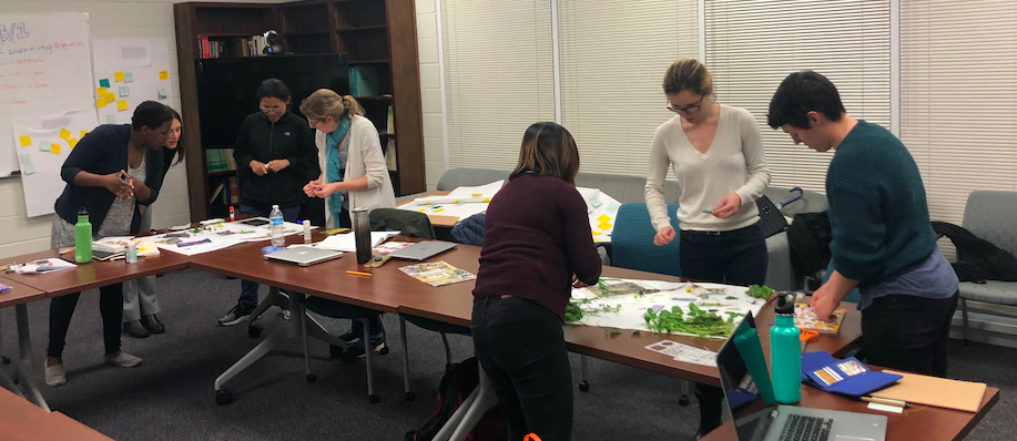 Image: Students collaboratively making a collage in the spring 2019 seminar to capture our thoughts about EcoFeminism. Students and faculty conveners collected materials from the roof top garden of UGA Geography's building for the activity.