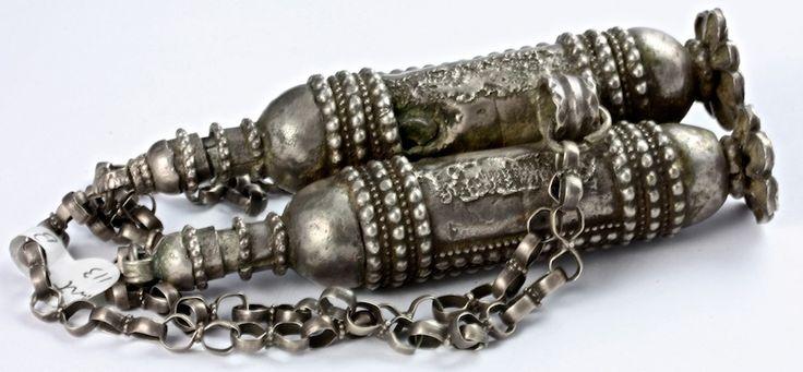 """Antique Yemeni silver kohl boxes, traditionally worn on Djambiya (Dagger) Belt. Yemen."""