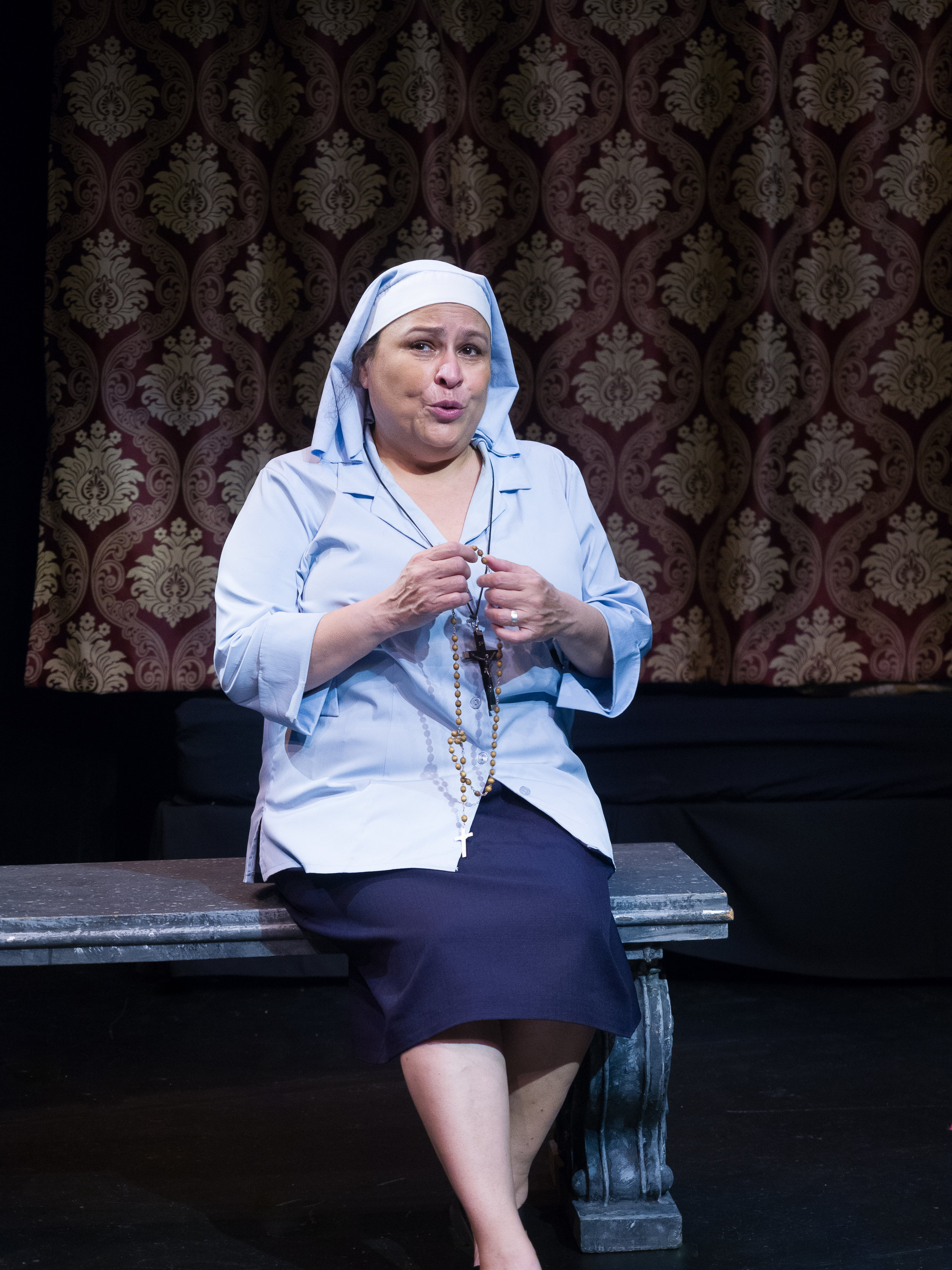 Martha Chaves as Sister Bibiana. Set and Costumes by Jan Venus; lighting design by Waleed Ansari. Photography by Rene Stakenborg.
