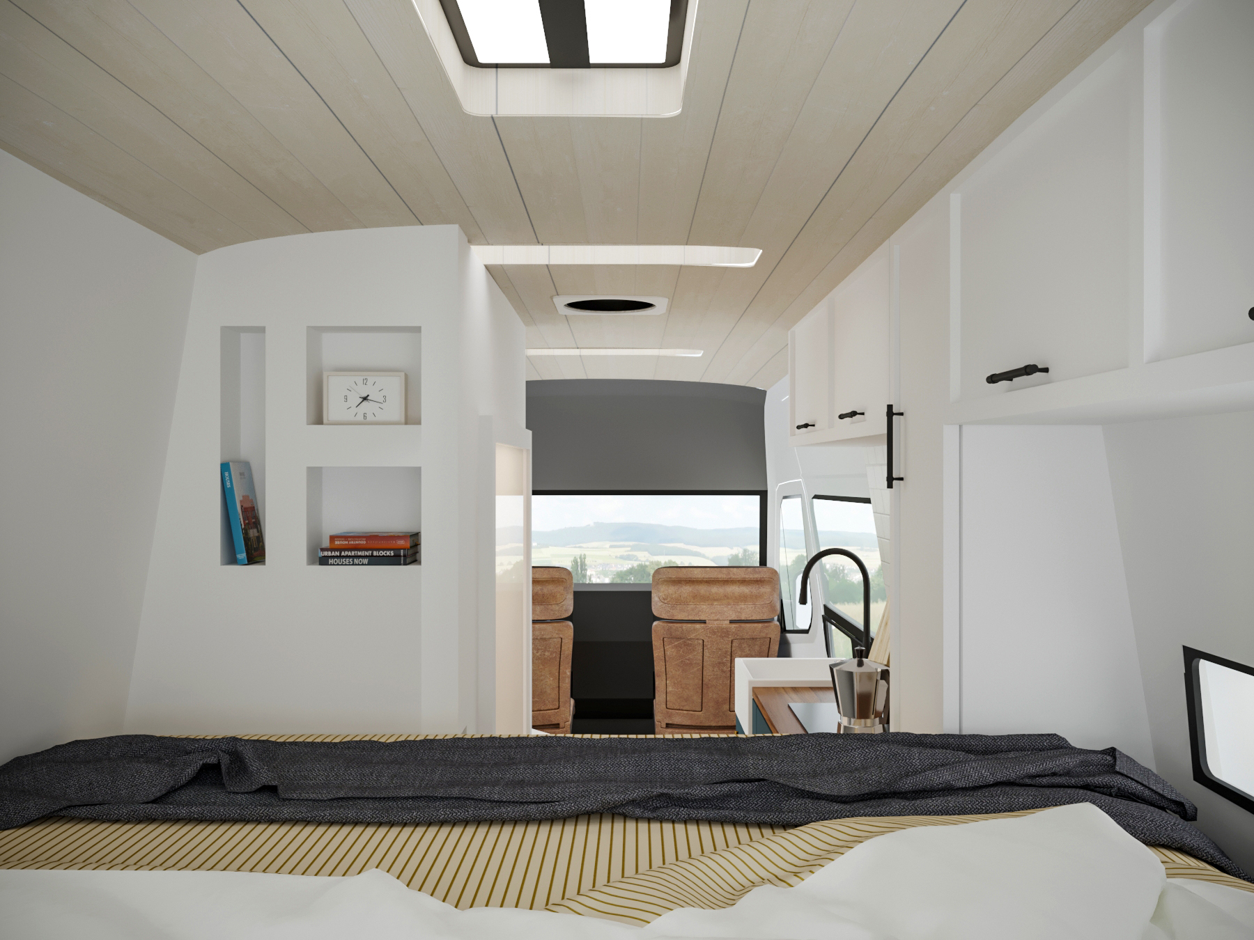 This cozy sleeping nook will be the perfect end to your day on the road. The side bumpouts make a comfortable sleeping space and upper cabinets will house your clothes.
