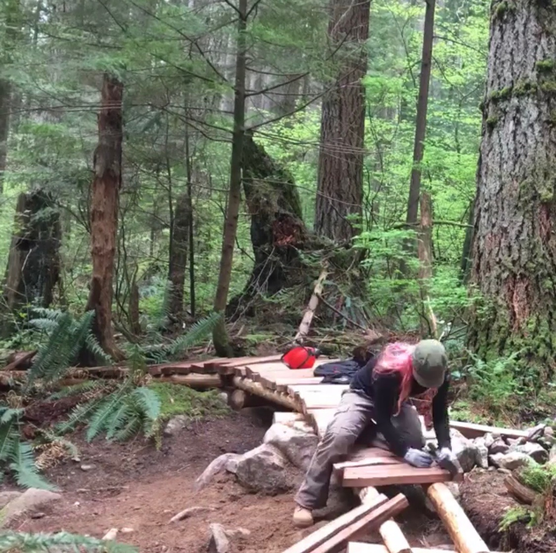 - Find me in the forest moving rocks & dirt, planting moss & ferns, or sniffing cedar. I strive to create trails that fit so naturally within the surrounding environment that it seems they appeared by magic.