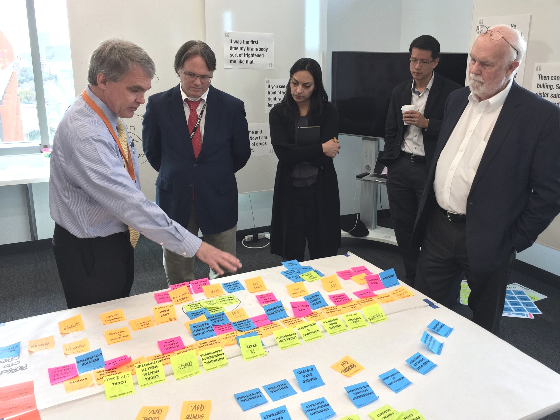Stephen Strakowski discusses options in a workshop with Steering Committee members David Lakey (second from left) and David Evans (right) and systems designers from the Design Institute for Health.