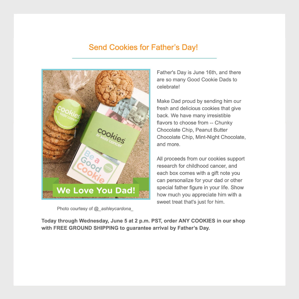 minisocial.io UGC on Cookies for Kids email campaign.