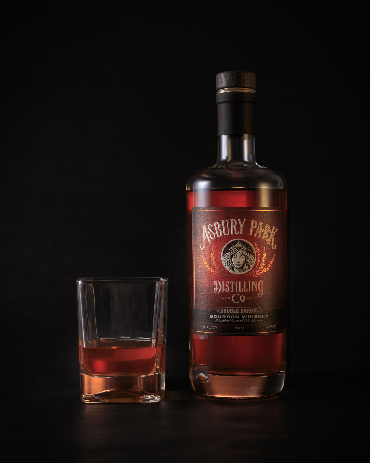 Asbury Park Distilling Bourbon with Rocks Glass