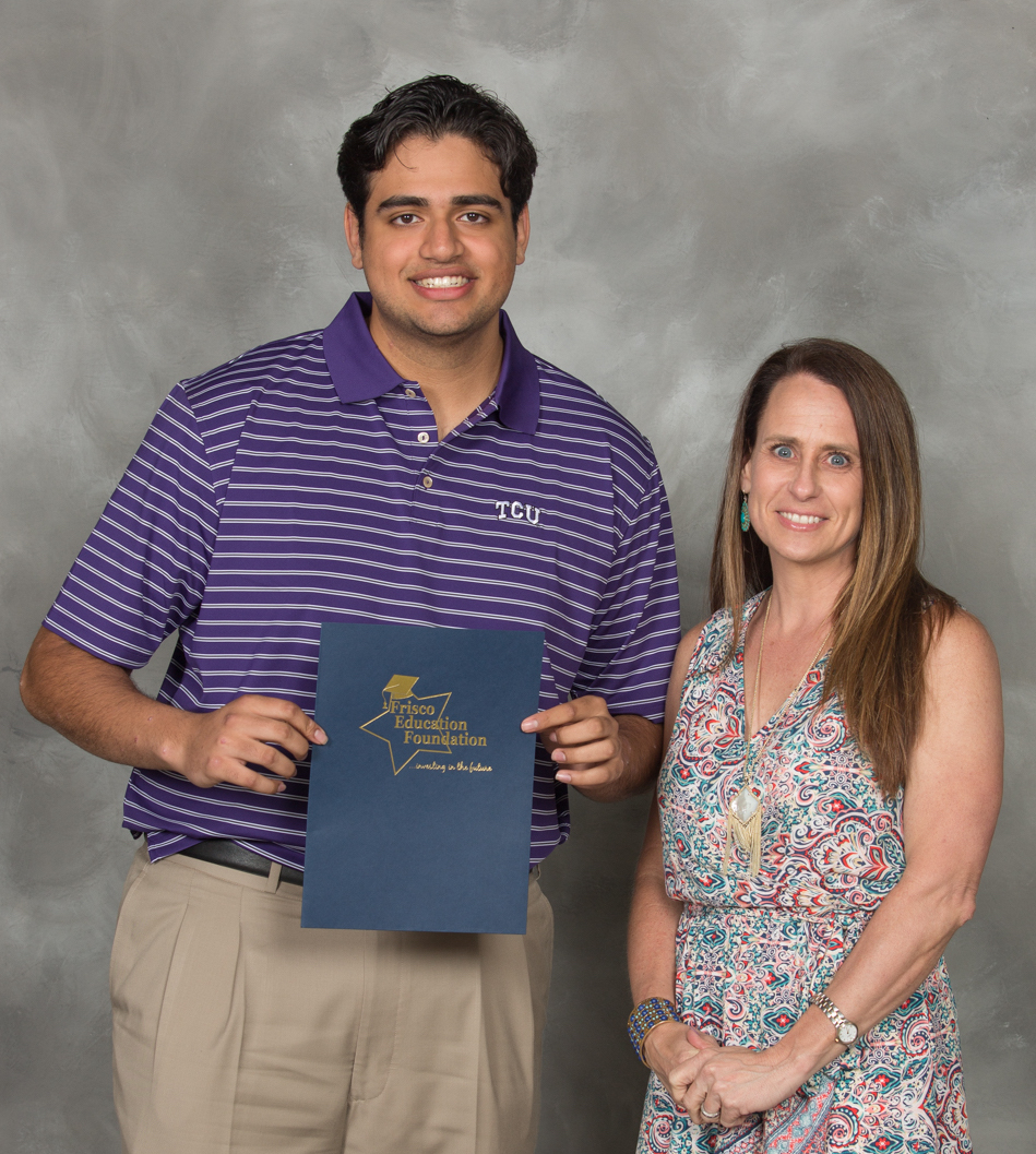 Congrats to Arnav Nair! Frisco HS PTSA's first Scholarship recipient - Awarded May 2019. Also pictured - Kelly Crider, FHS PTSA President 2018-2020.