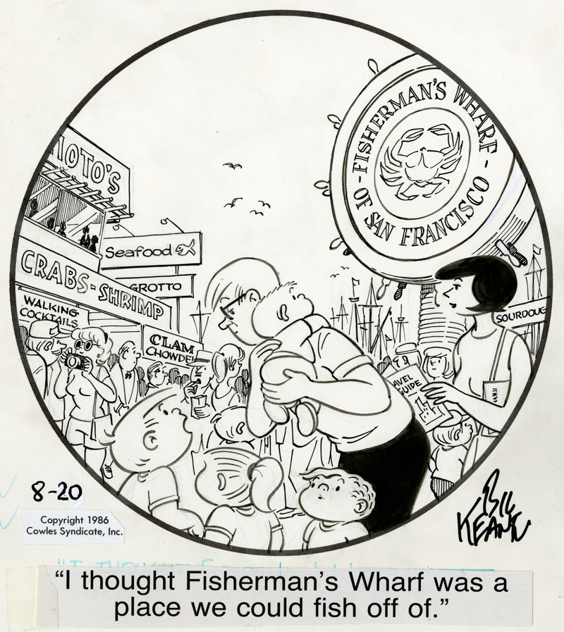 The Bil Keane Collection - Reuben Award-winning cartoonist Bil Keane, creator of the beloved Family Circus comic strip, was a longtime friend and supporter of the Cartoon Art Museum. The Bil Keane collection houses more than 40 of his original cartoons dating back to the early 1960s.