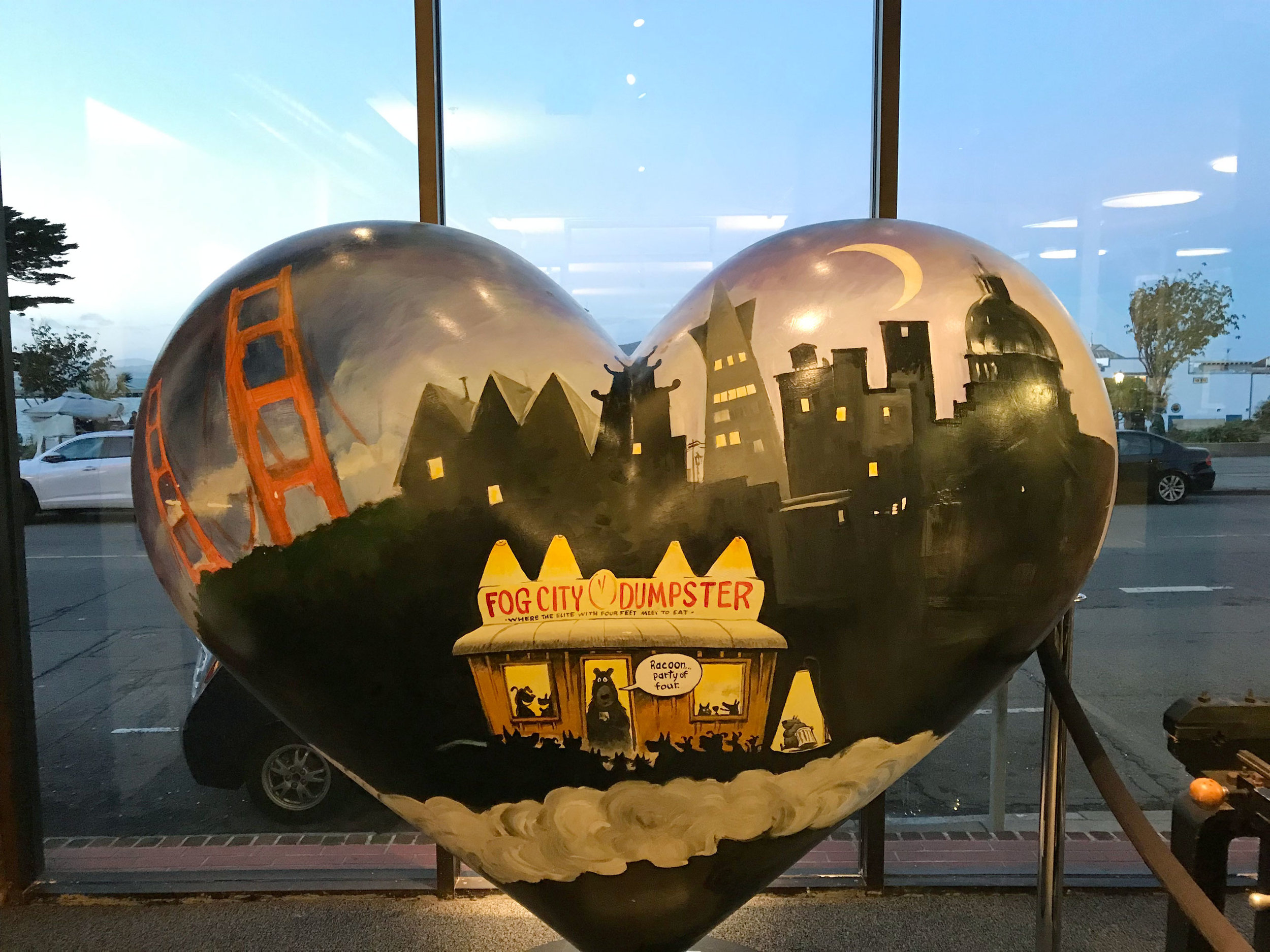 Painted heart sculpture by cartoonist Phil Frank