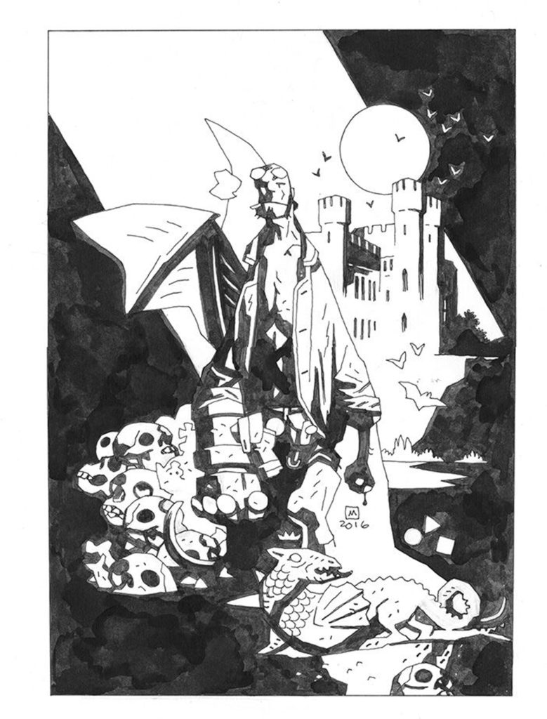 An original  Hellboy  inked page, by Mike Mignola.