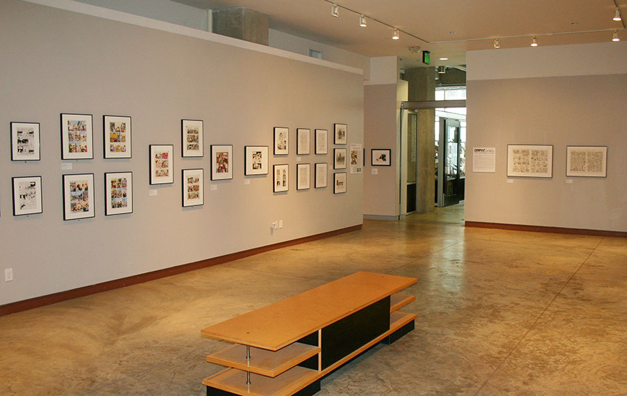 The 655 Mission Street gallery, during the 2010 exhibition  Graphic Details: Confessional Comics by Jewish Women .