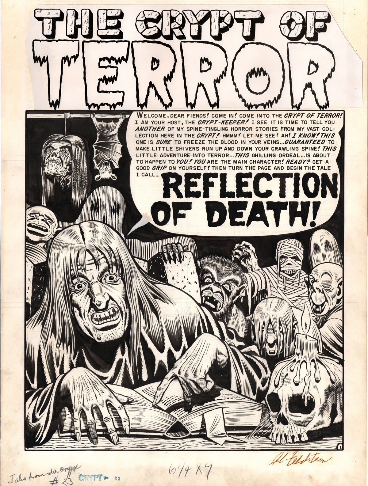 """""""Reflection of Death,"""" from  Tales from the Crypt  #23 (April/May 1951), written and drawn by   Al Feldstein. Images are property of William M Gaines Agent, Inc. © 2019."""