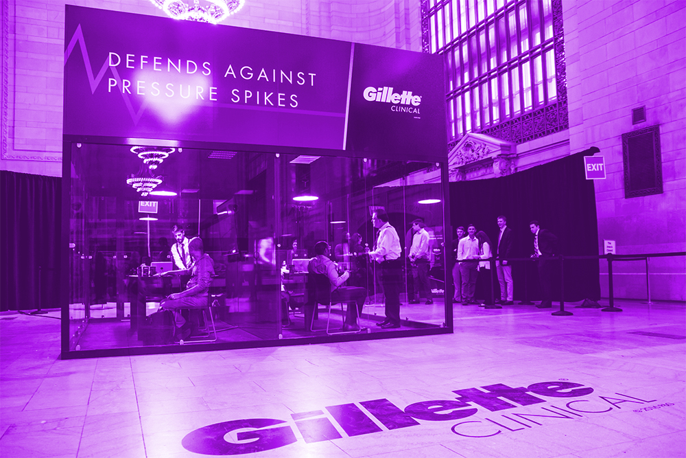 2015 • GILLETTE - Client: KETCHUM PRTo demonstrate the power of Gillette's Clinical Clear Gel Deodorant, we unveiled the Gillette Pressure Chamber in the heart of Grand Central's Vanderbilt Hall. Commuters, tourists and local New Yorkers alike had the unique opportunity to participate in an on-the-spot polygraph test administered by renowned polygraph expert Daniel Ribacoff. When the pressure spikes, Gillette Clinical Clear Gel keeps you cool and fresh.Not only did participants receive product samples, but NBA star Carmelo Anthony stopped to interact and moderate polygraph sessions, adding to the already intense experience!