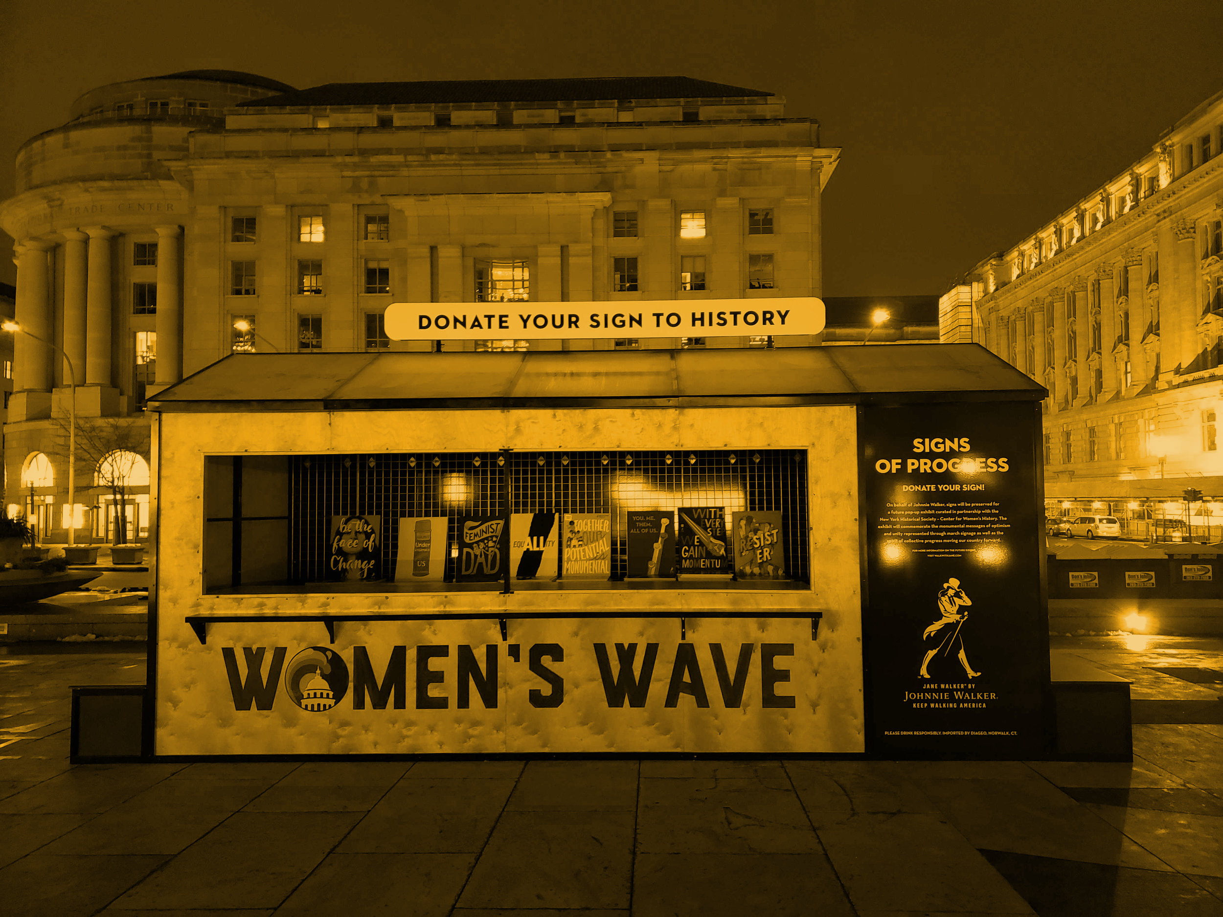 "2019 • JANE WALKER - Client: HUNTER PRCelebrating the many messages of optimism and empowerment, Jane Walker by Johnnie Walker brought the Signs of Progress Truck to the Women's March in Washington, D.C. The truck distributed free signs to marchers, designed by talented artists. At the end of the march in Freedom Plaza, attendees were able to donate their signs to history at the Jane Walker Preservation Station. Homemade signs were collected and cataloged for a future pop-up exhibit in partnership with the New York Historical Society - Center for Women's History. ""With every step, we all move forward."""