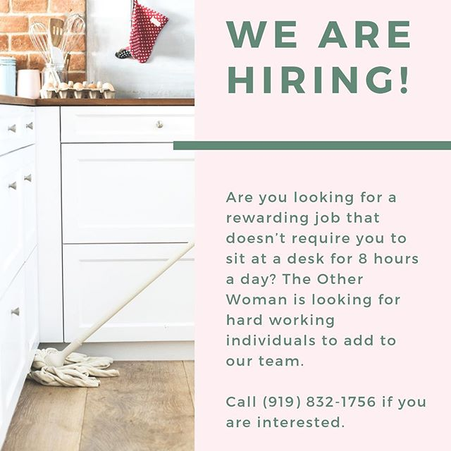 Let us know if you're interested! Check out our website in our profile for contact info. Email us at theotherwomaninc@gmail.com or call (919) 832-1756.