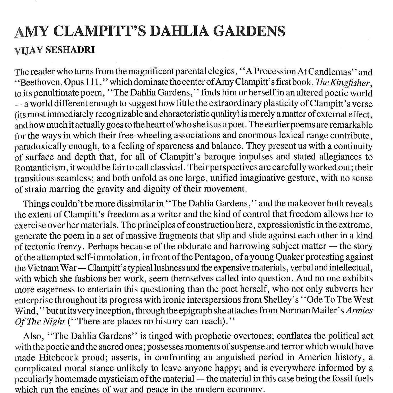 Amy Clampitt'sDahlia Gardens - by Vijay Seshadri
