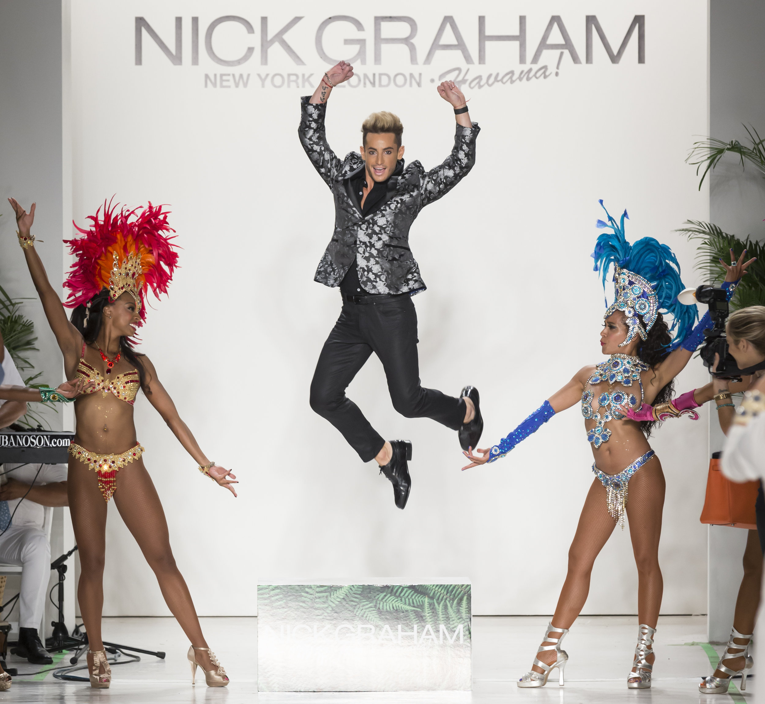 Jump for Pure Joy - Ok! Caught in a flash by some of the top fashion photogs in the world. I think Arianna Grande is proud of her brother here. PURE SAMBA - dancing and spreading joy for New York Fashion Week Mens for Nick Graham.