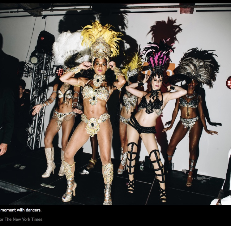 New York Times - Great capture! While on stage witnessed by hundreds of New York Fashionistas. PURE SAMBA featured in the New York Times for New York Fashion Week after party.