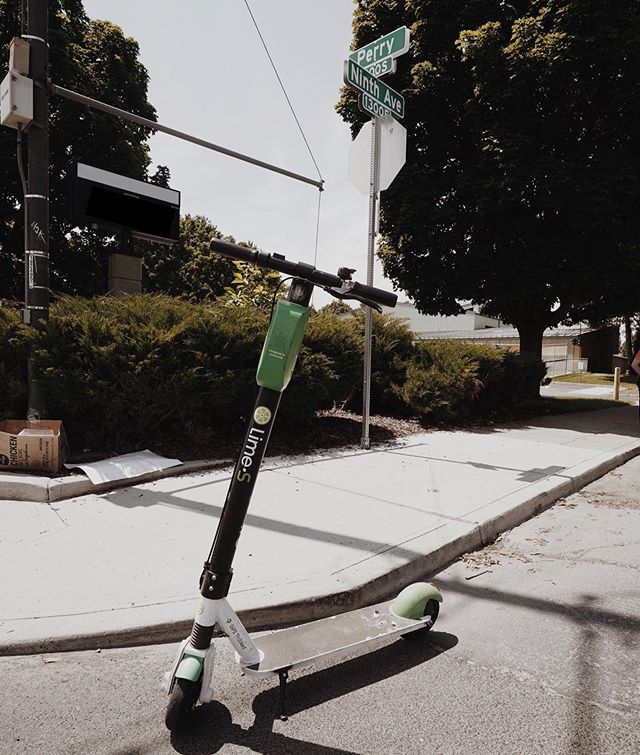 Lime bikes and scooters are an easy green transportation option for Blockhouse | Life residents in Spokane's Perry District.