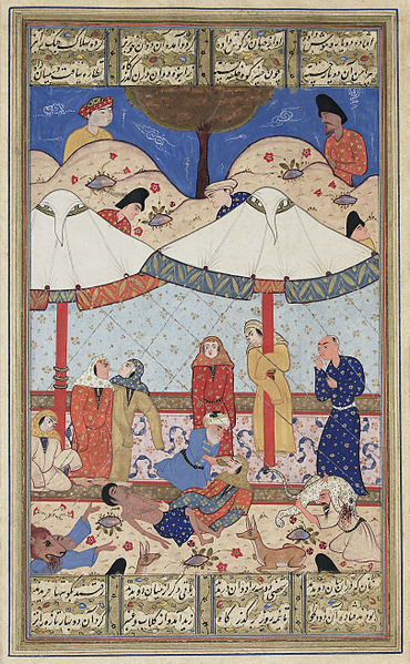 """The Fainting of Layla and Manjun"" , late 16th century Persian manuscript"