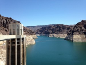 Large dam holding back water.