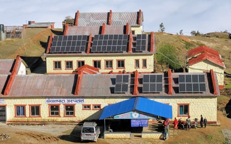 Arieal view of Bayalpata Hospital now with solar panels on the roof.