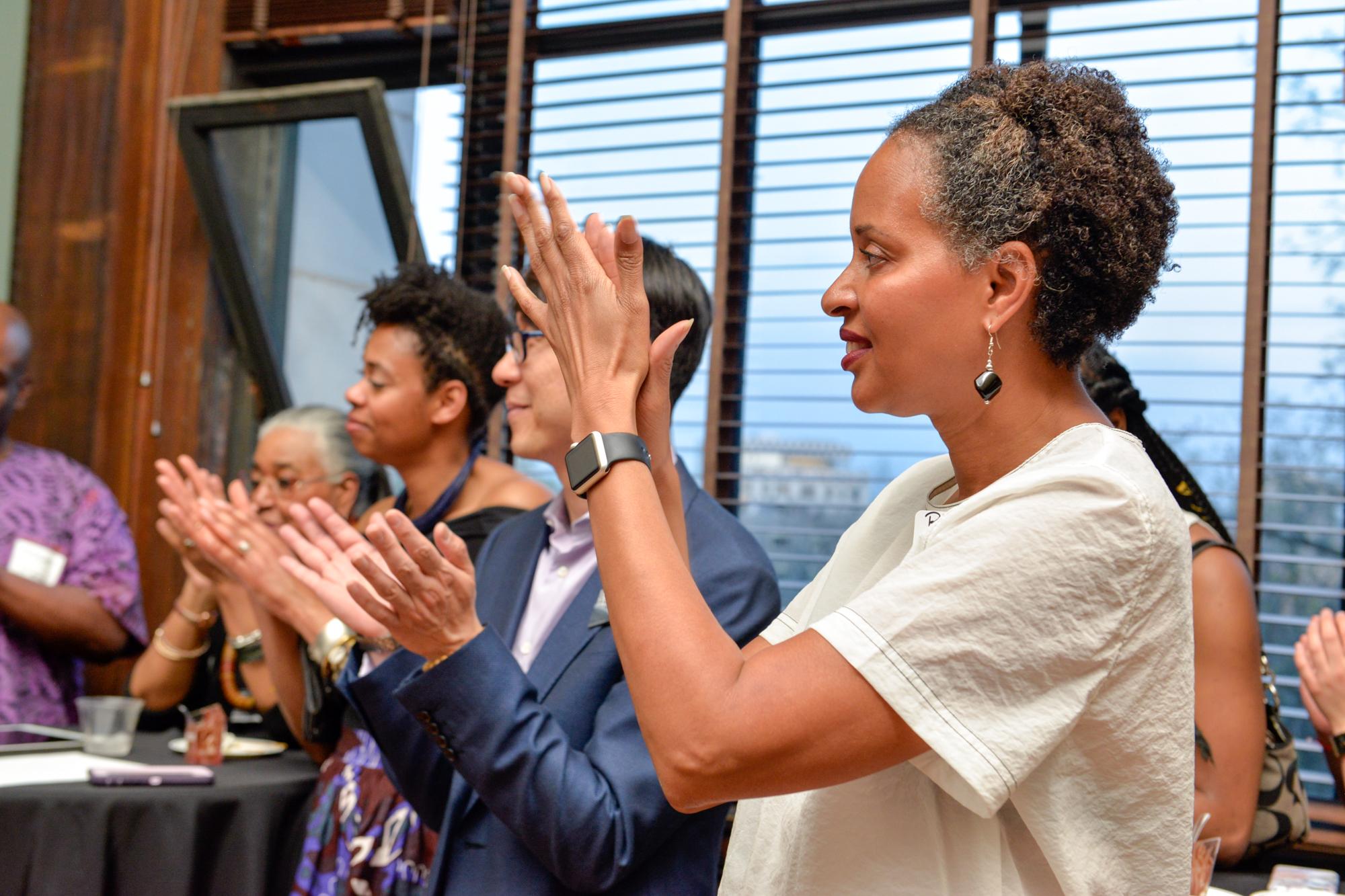 "Left to Right:  Latoya Hobbs, Faculty  Samuel ""Sammy"" Hoi, President  Rita Walters, Former Vice President of Advancement"
