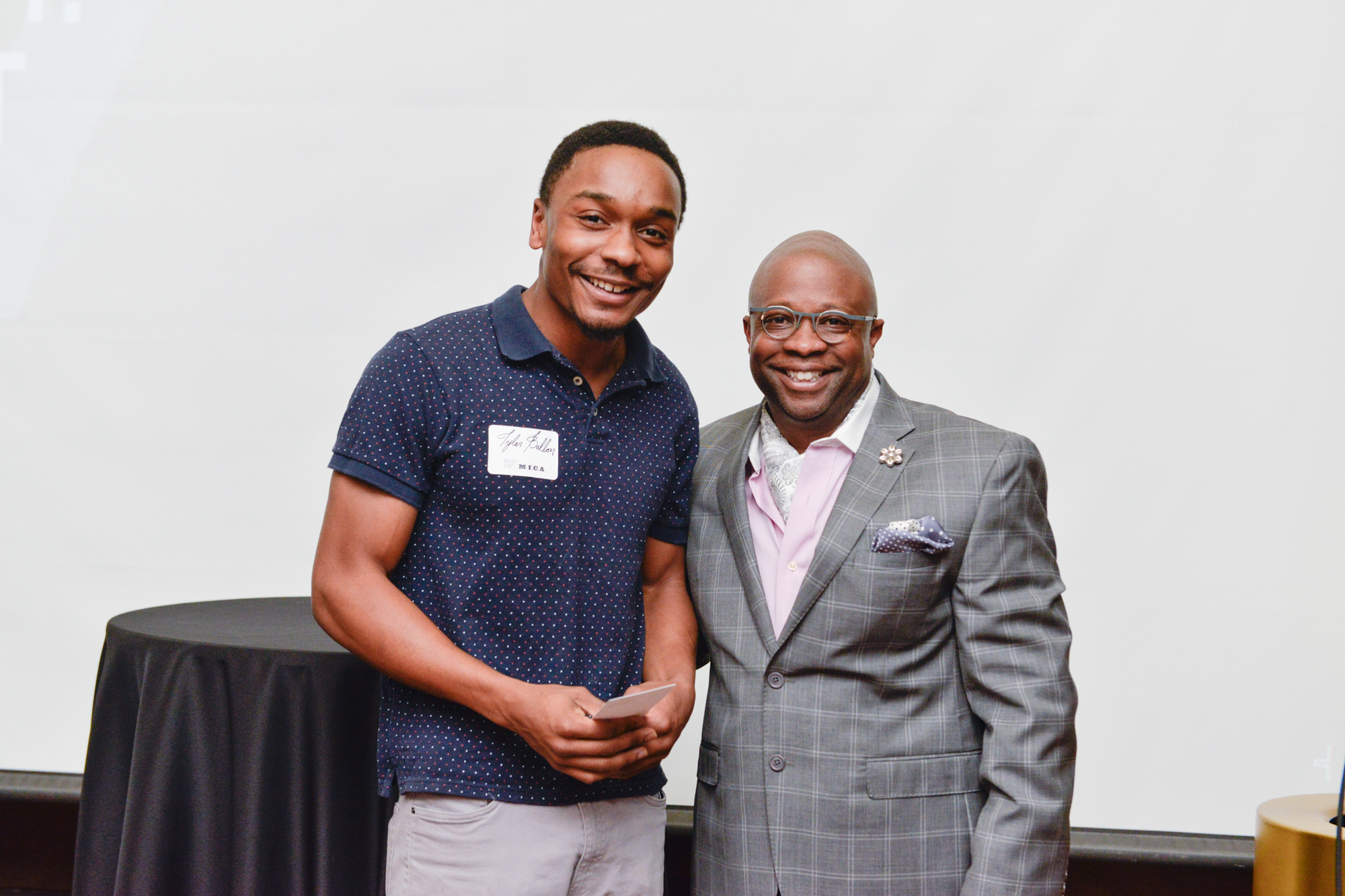 Left to Right:  Taylor Ballon, First Recipient of the Inaugural Harry T. Pratt Award (Undergraduate)  Clyde Johnson, Associate Dean of Identity and Inclusion