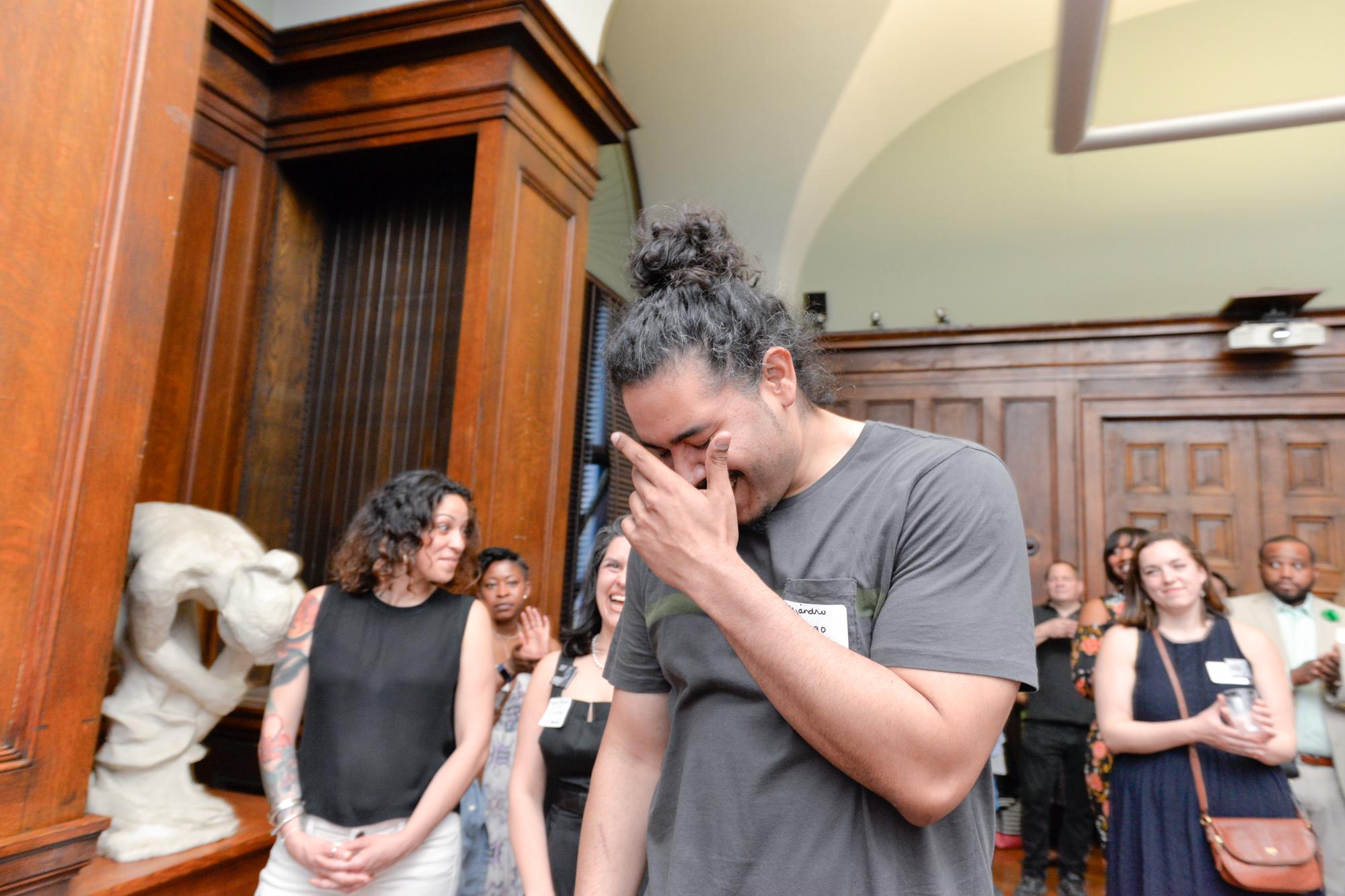 Center:  Alejandro Orengo, First Recipient of the Inaugural Harry T. Pratt Award (Graduate)