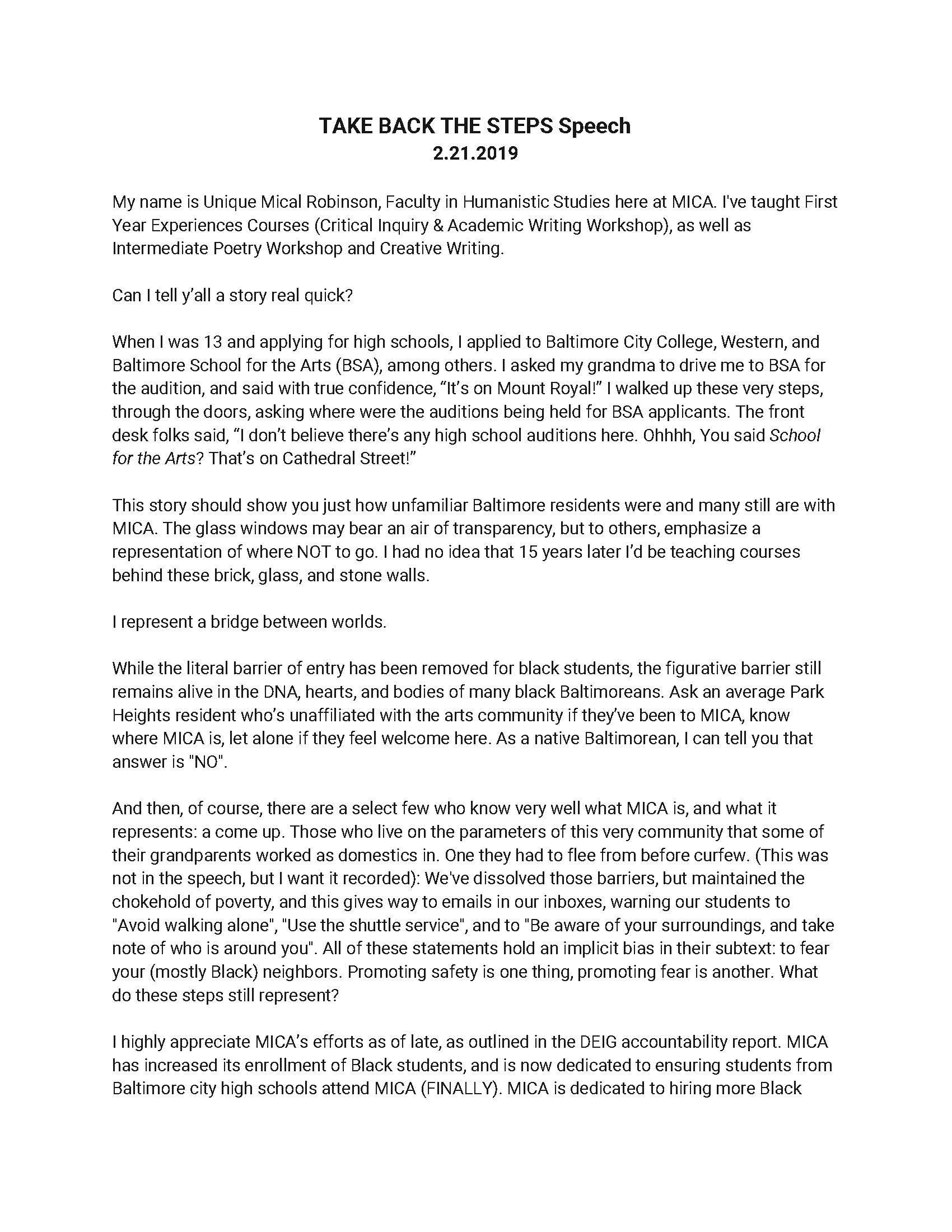 Unique Robinson's Speech, Side One