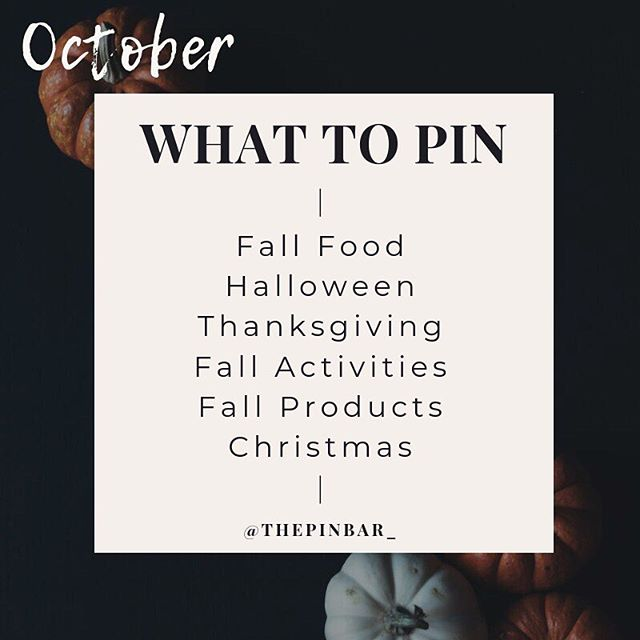 "🎃 OCTOBER EDITION: What To Pin! 📌 ⠀⠀ 🥧 Fall Food: As the cooler weather comes our way (hopefully, right?) pinners are searching for all kinds of fall foods including fall dinner recipes, fall desserts, crockpot recipes, party recipes, and soup ideas ⠀⠀ 👻 Halloween: It's just a bunch of hocus pocus! It's officially Halloween month and pinners want everything from Halloween costumes, decorations, party ideas, Halloween makeup, and Halloween aesthetic (for all them moody peeps out there) ⠀⠀ 🦃 Thanksgiving: Even though turkey day isn't until next month, start pinning this now! Focus on Thanksgiving decorations, dinner table ideas, recipes, outfits, and Thanksgiving crafts for the kiddos ⠀⠀ 🍁 Fall Activities: Everyone's starting to enjoy the fall weather, and with that, comes all the fall activities! Pinners love to be inspired, so keep things focused on fall activities for kids, things to do with friends, family activities, and fall things to do for couples (because y'all know it's cuffing season out there..) ⠀⠀ 🧥Fall Products: Calling all Etsy stores, online stores, and physical product sellers... this is your time! Now is the time to push fall fashion, fall themed products, fall photography, fall decorations, and fall crafts! ⠀⠀ 🎄 Christmas: NO, it's not too early. Don't give me that. Y'all know by know, pinners are planners and they WILL be searching for this! Start focusing on Christmas decor ideas, gifts, crafts, Christmas pictures, cookie recipes, and Christmas aesthetic ⠀⠀ 🎃 Happy October y'all! Halloween is here this month, so keep this list handy for all your upcoming pinning needs! Don't forget to swipe left to save the ""What To Plan"" for the upcoming months too! ⠀⠀ 📌 What are you MOST looking forward to seeing on Pinterest this month? For me, I can't wait to pin all the fall activities and Halloween aesthetic! 🍂👇🏼"