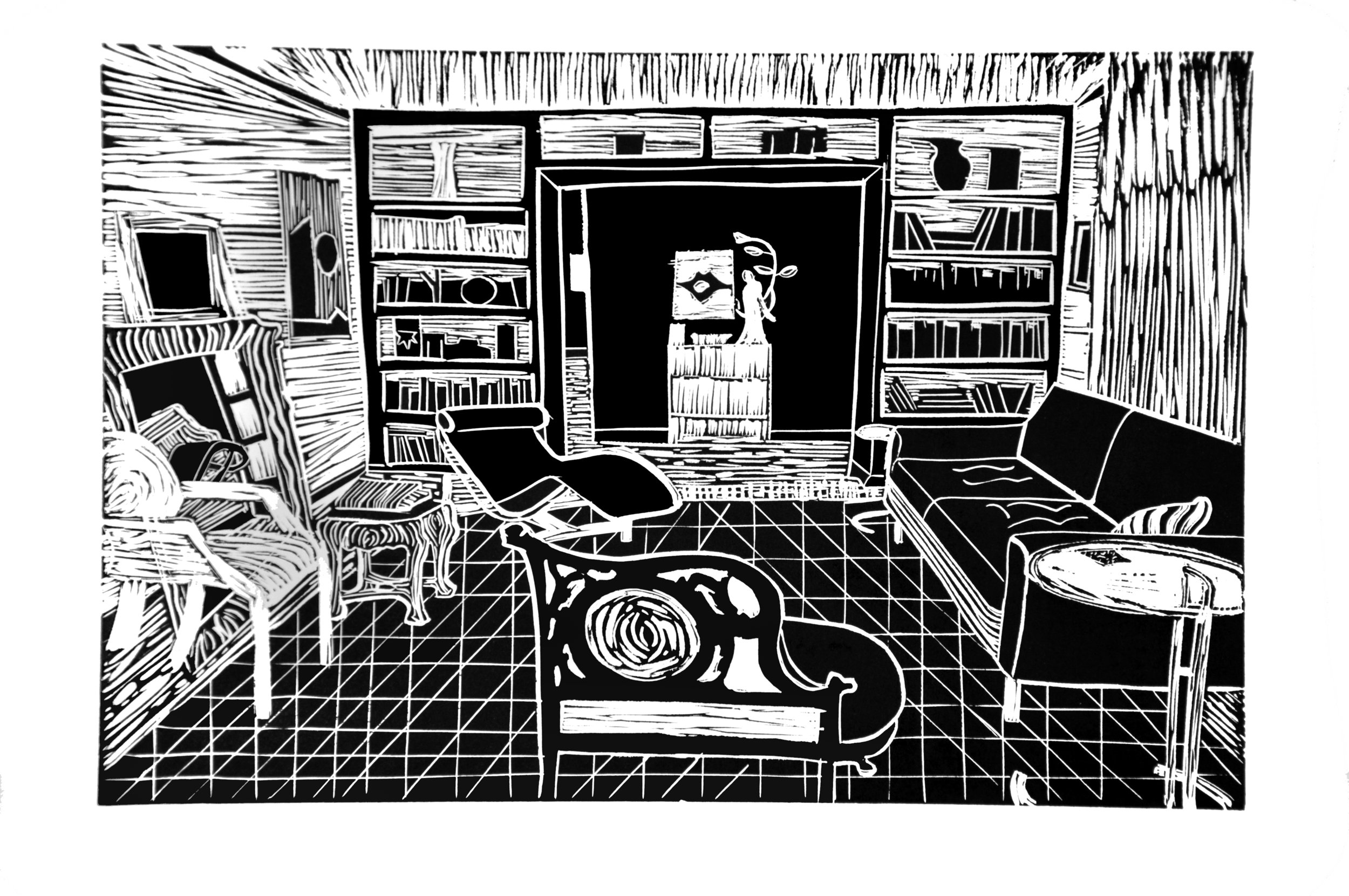 "My Living Room ,   2014 – linoleum, 12"" x 18"""