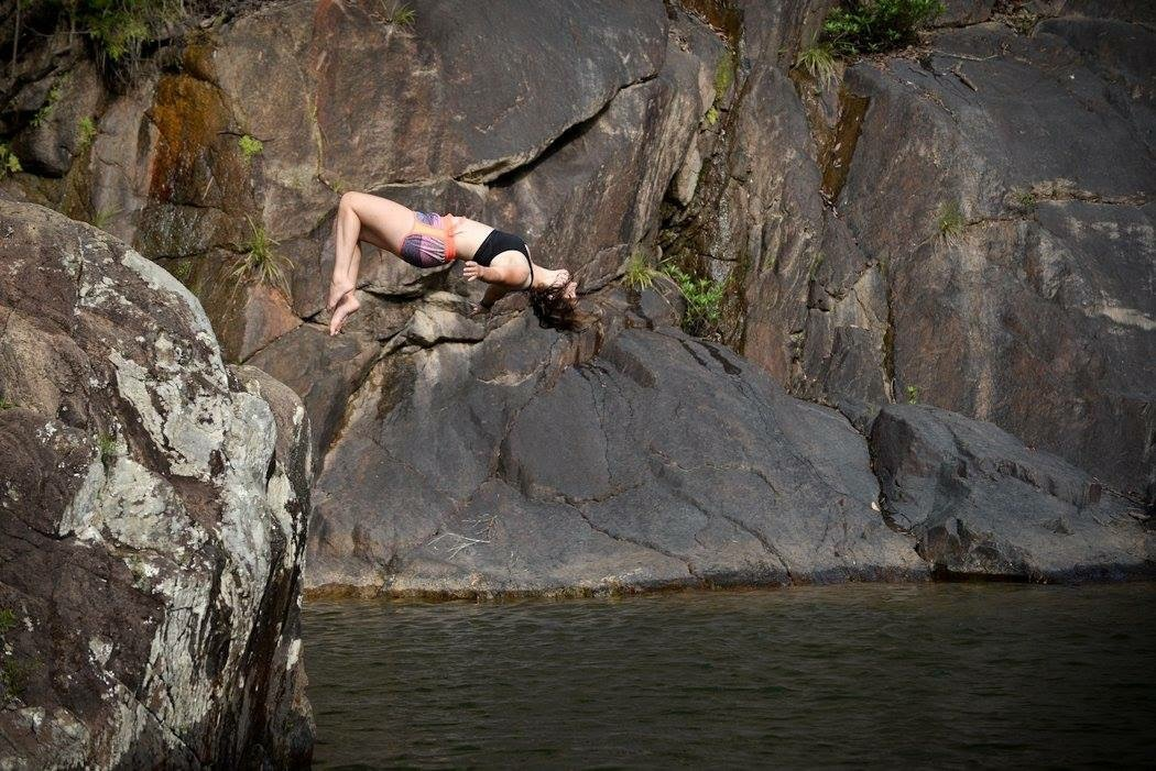 Hannah Wolter's backflip off a boulder in Belize.