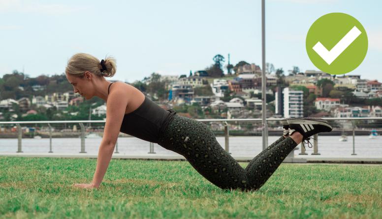 Pilates knee plank correctly done