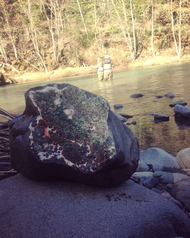 Found a colorful rock the other day and thought I would share it. Our fall season is filling up quick, contact us soon and learn how to target steelhead on our beautiful southern Oregon rivers!! #snkguideservice #southernoregonflyfishing #steelhead #wishiniwasfishin