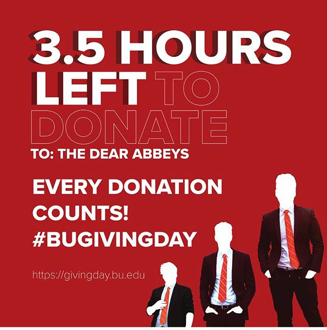 We have just under 3.5 hours until the end of #BUGivingDay and the Abbeys are asking for your help! We're currently #5 on the Club/Org leaderboard and with your help we can make Top 3! Any and all donations count @ https://givingday.bu.edu - just click GIVE NOW and search us in the search bar. Thank you to all our supporters who've already sent in their donations! 🎩😊❤️