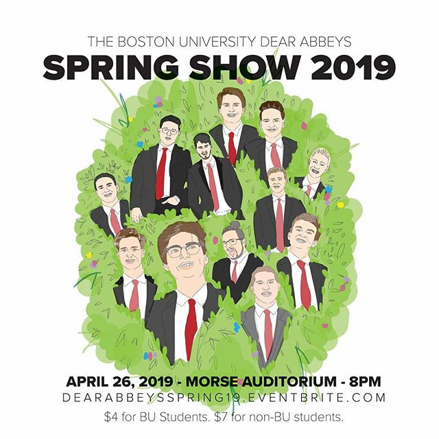 Hey! Hey you! Happy Earth Day! But also, happy Spring Show week! The Dear Abbeys will be performing at Morse Auditorium this Friday April 26th, doors open at 7:30pm, and tix are just $4 for BU students ($7 for non-bu attendees!) - tix link in bio! 😊🎩❤️