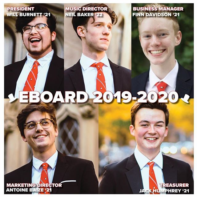 In addition to some brand new music, we'd also like to announce our Eboard for the '19-'20 academic year! President: Will Burnett president@dearabbeys.com Music Director: Neil Baker  musicdirector@dearabbeys.com Business Manager: Finn Davidson businessmanager@dearabbeys.com Marketing Director: Antoine Baize marketing@dearabbeys.com Treasurer: Jack Humphrey treasurer@dearabbeys.com - For any official event/group inquiries for the 2019-2020 year please reach out to businessmanager@dearabbeys.com or president@dearabbeys.com 🎩😊❤️