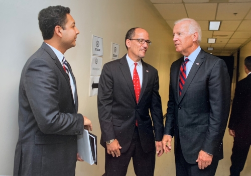 Eduardo with U.S. Department of Labor Secretary Tom Perez and Vice President Joe Biden.