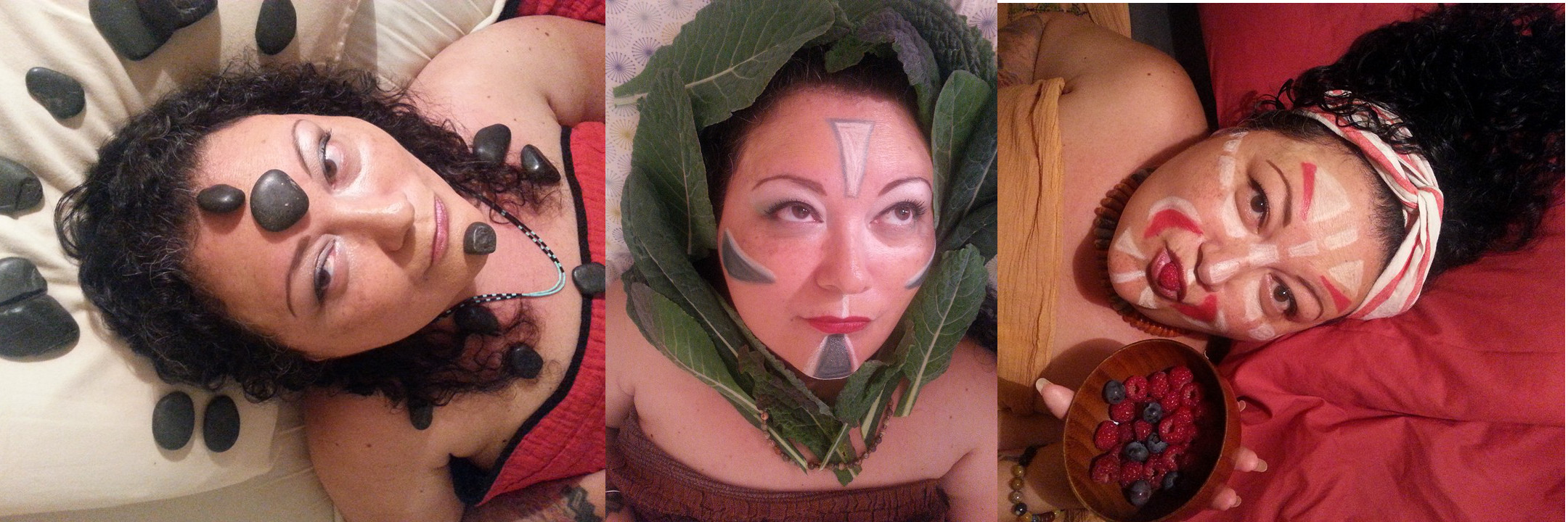 [Image Description: A tableau of three images of Patty Berne, a Hatian / Japanese crip with dark curly hair. In the center, their face is painted with white and grey geometric shapes and their head is framed by kale leaves. On the left, they lie on a white pillow with their hair down and black shiny stones placed on their face, chest, and surrounding their head. On the right,  they lie on a red pillow with their hair piled on their head and a red and white headwrap. Their face is painted with red and white geometric shapes, and they hold a raspberry in their pursed lips.}