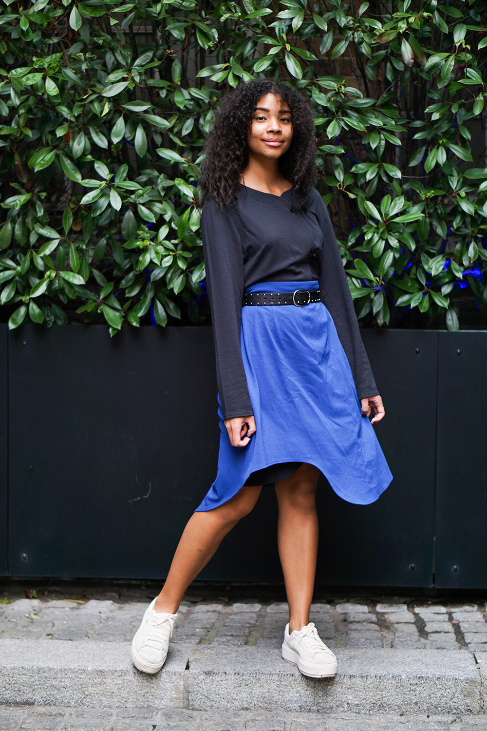 Sara Flaaen in our phantom cardigan and put a skirt over the cardigan.