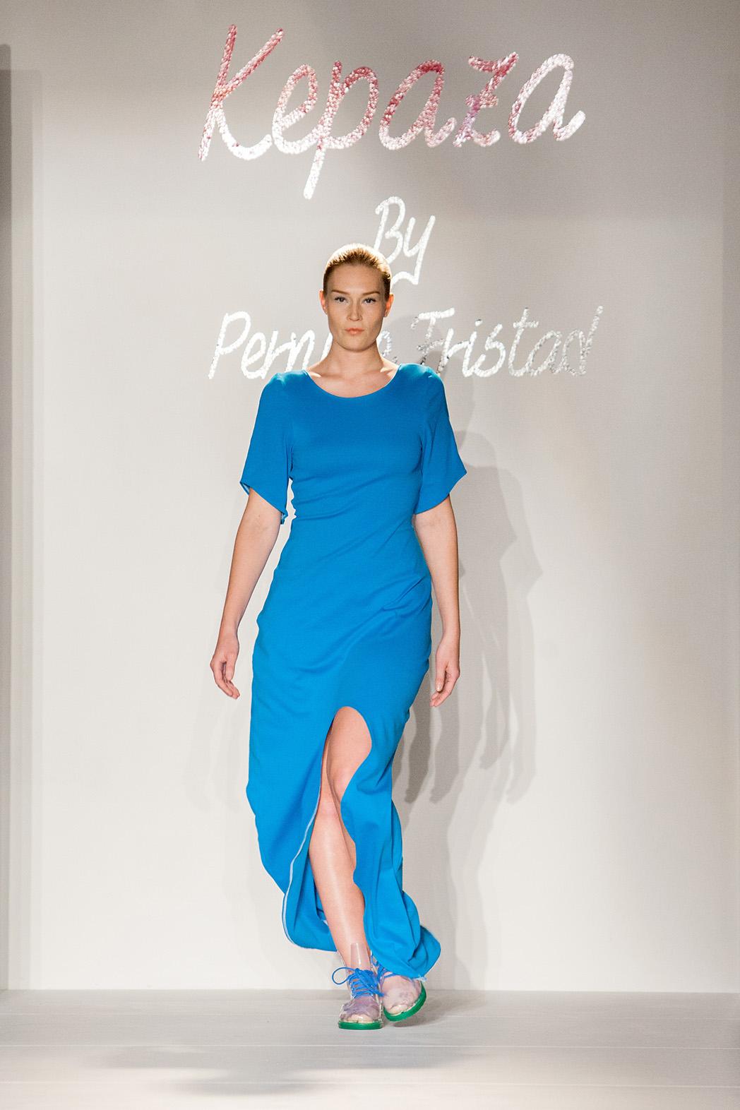 Jannie walking at New York Fashion Week for Kepaza