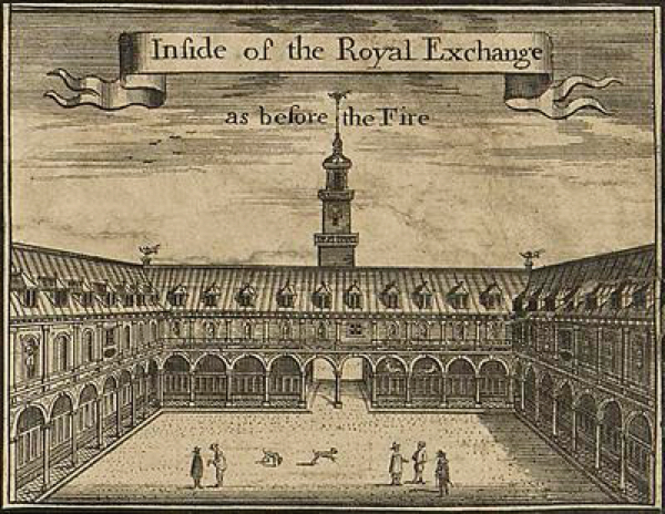 The shops at the Royal Exchange in London, c. 1666