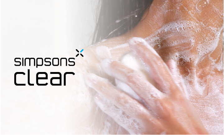 An individual brand identity for Simpsons showers' own shower glass protector, Simpsons Clear, is applied throughout marketing communications and after sales material.