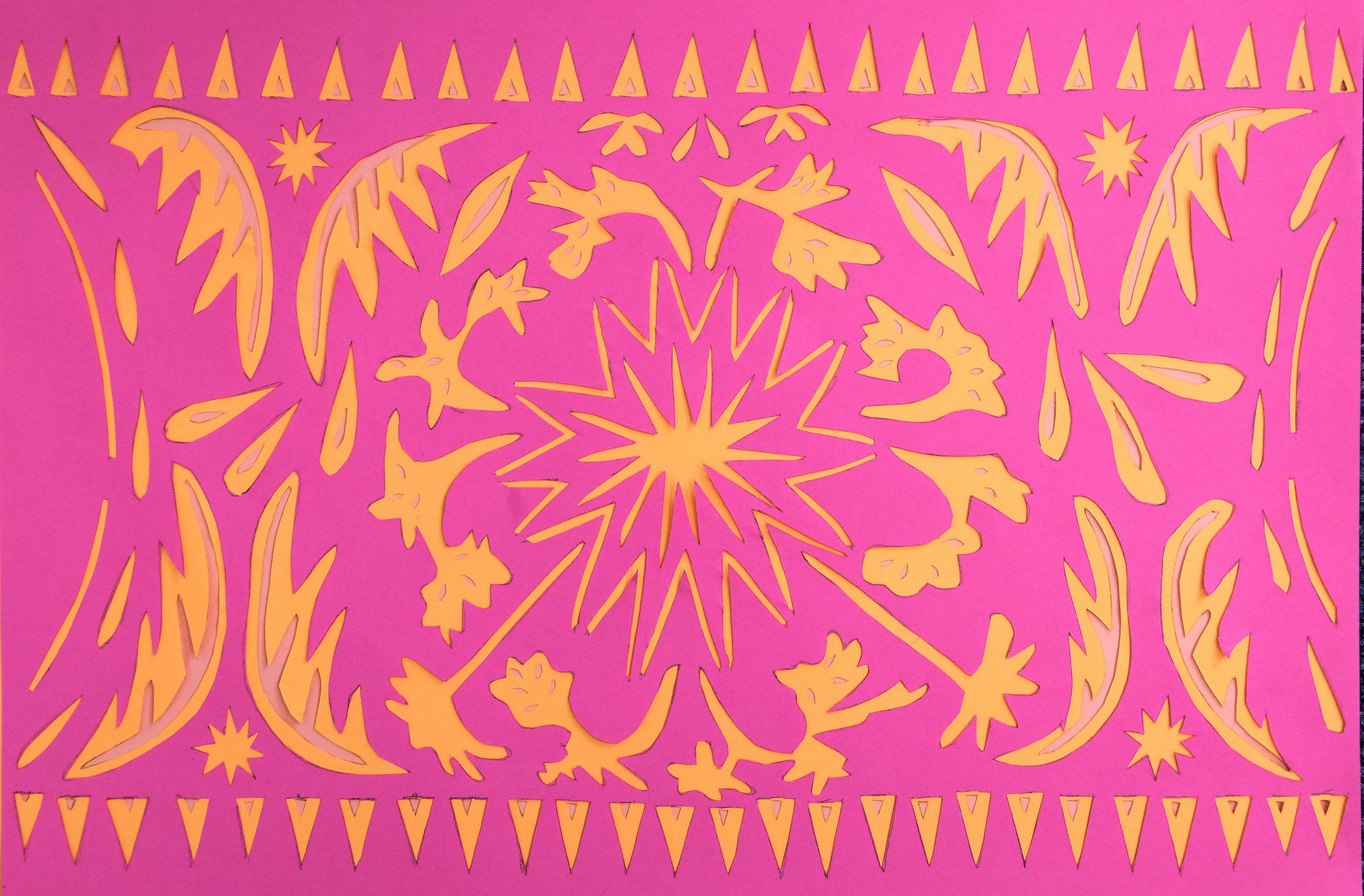 Seasonal Cycle, pink and orange papercut, 21.0 x 29.7cm