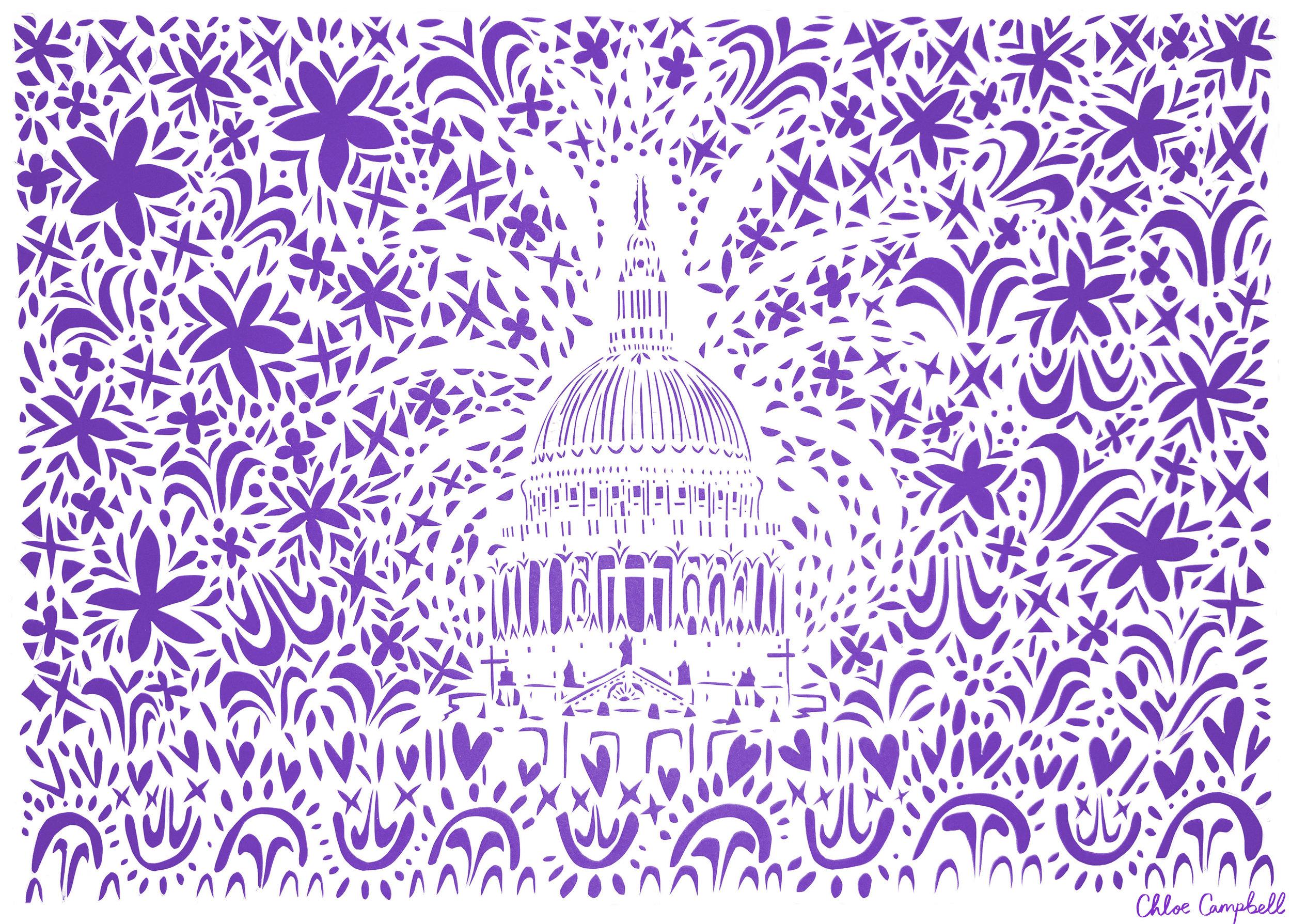 St Paul's Cathedral, violet papercut, 42.0 x 59.4cm