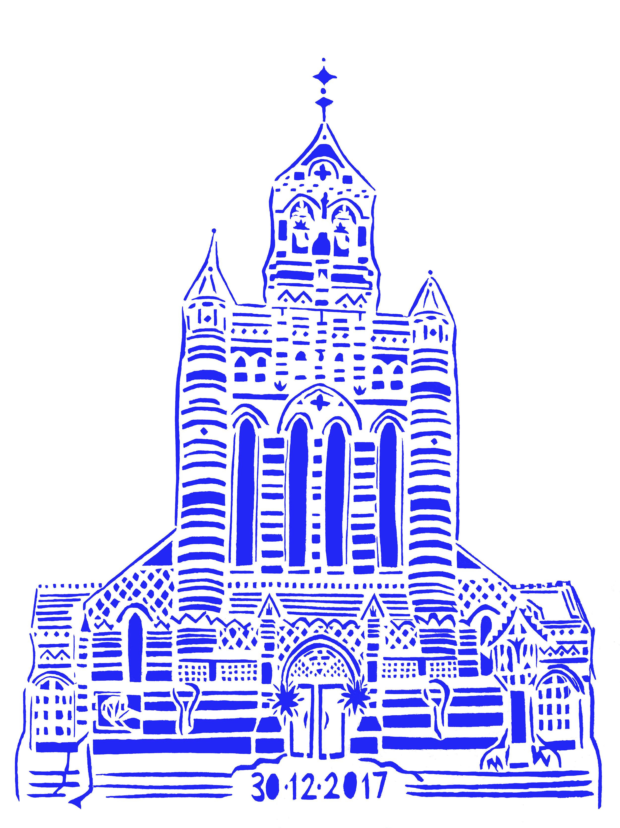 Holy Trinity Brompton Queen's Gate, blue papercut, 21.0 x 29.7cm