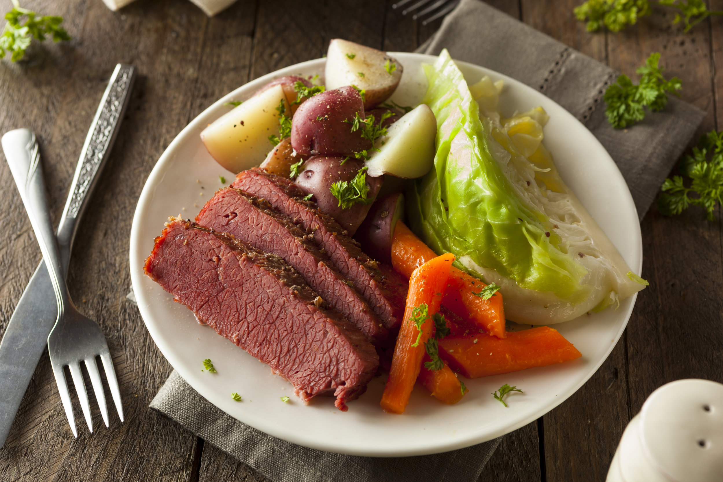 St. Patrick's Day specials at pescadeli - Take home our house made corned beef bistro or grab and go meals, or pick up a raw corned beef at Butchers Alley.