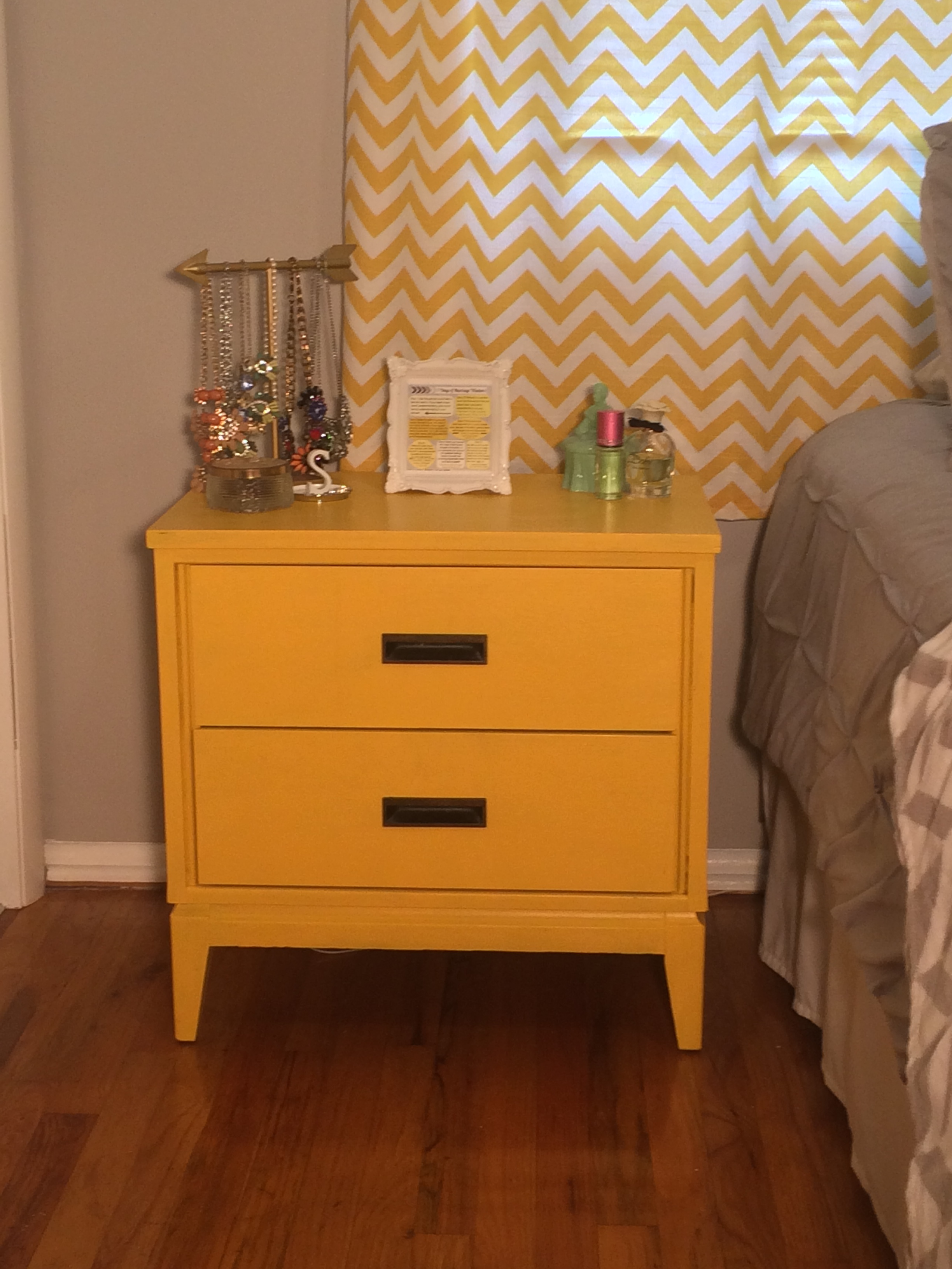Thrift Store Night Stand Painted Yellow.JPG