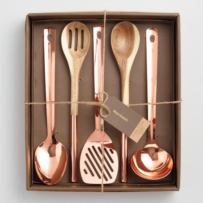2. Copper and Wood Kitchen Utensils - $29.99