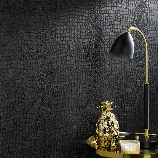 Crocodile Black Wallpaper by Graham & Brown
