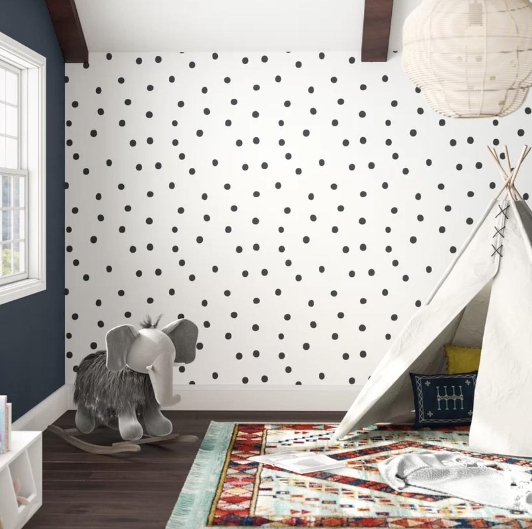 "Akil 16.5' L x 20.5"" W Polka Dot Peel and Stick Wallpaper Roll by Wayfair"